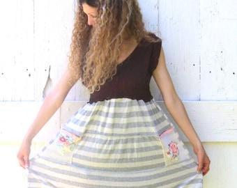 Mini Dress , Boho Tunic dress , artsy dress , Free people inspired dress, eco clothing, upcycled clothing, casual dress, striped knit dress