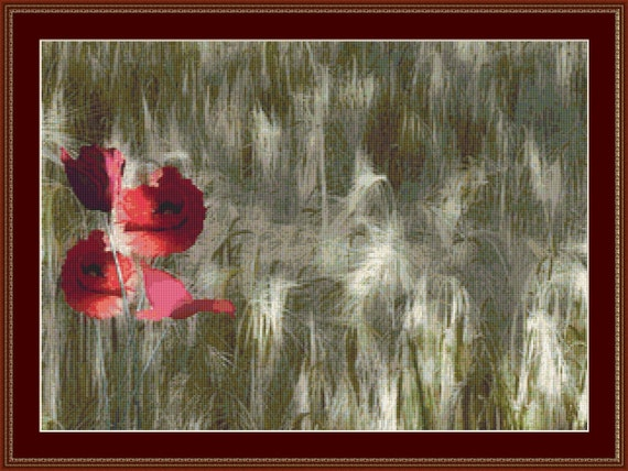 Red Poppy In Cornfield Cross Stitch Pattern /Digital PDF Files /Instant downloadable