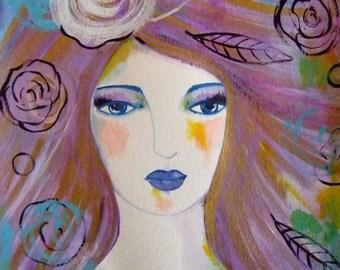 Portrait Woman Face Painting Portrait Flowers Woman Decor Art Purple Gold Blue Woman Fine Art Portrait Wall Art Home Decor Girl Art Flowers