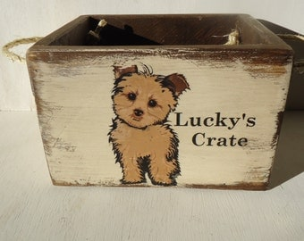 """Country Rustic aged """"Personalized"""" Dog Toy Box Crate"""