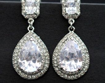 Rhinestone Wedding Bridal Earrings Vintage Style Wedding Earrings Teardrop Rhinestone Earring Bridesmaid Earrings Bridal Dangle Earring IRIS