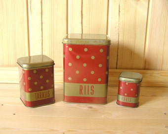 Polka Dot Soviet Vintage Tin Container Containers Box Set of 3, Retro Kitchen Soviet Home Decor, Cottage, Shabby Chic