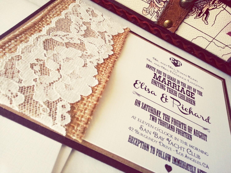 Fall Wedding invitations Rustic Lace wedding invitation – Rustic Lace Wedding Invitations