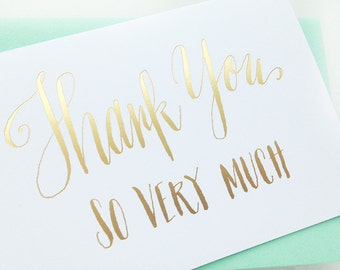 set of 5 gold foil letterpress thank you cards - hand-lettered calligraphy