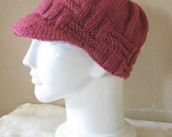 Hand Knit Newsboy Hat in Rose