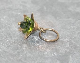 Green Czech glass flower and antique brass Add a Charm