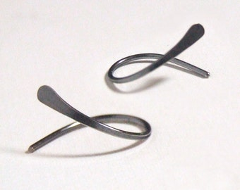 Titanium or Niobium Hoop Earrings - open swish, simple classic cold formed hand hammered Hypoallergenic Gift