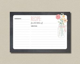 Bridal Shower Recipe Cards // Printable // Pink Mason Jar Flowers and Chalkboard background (PP57)