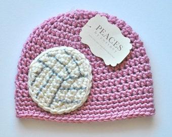 Pink Volleyball Baby Hat ( newborn gift preemie hat newborn costume babyshower newborn beanie baby hats baby beanie )
