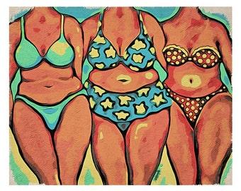 Whimsical Beach Folk Art - Beach Babes - Seashore Women 8x10 Glicee Print from Original Coastal Painting Korpita ebsq