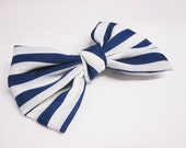 Art Deco- Navy and White Stripe Silk Hair Bow Clip - 4.5 inches/11.5cm - Ready to Ship Hair Accessories