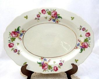 Vintage Serving Platter, Thomas Ivory China, Cabbage Roses