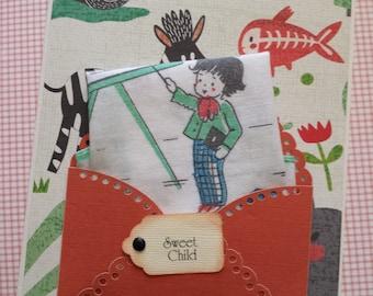 Vintage Keepsake Children's Handkerchief Hankie Baby Nursery Decor School First Birthday Baptism Christening Keepsake Hanky Greeting Card