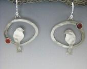 Bird Earrings, Bird Jewelry, Silver Birds, Birds in Hoop Earrings RP0335ER