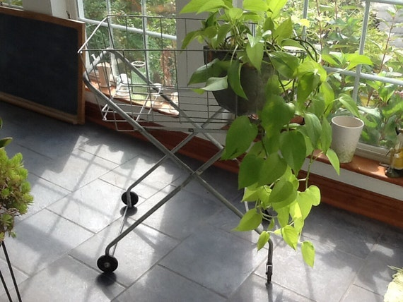 Vintage Laundry Cart /Metal Cart /Garden Cart /Rolling Cart