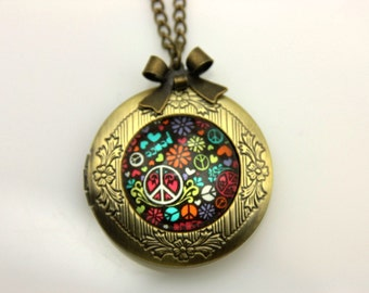 Necklace locket peace and love