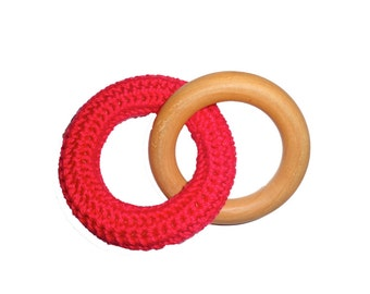 INSTANT DOWNLOAD Interlocking crochet covered wooden teething ring PATTERN