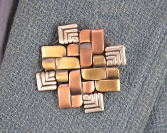 Quilted Metal Brooch- Gifts for Quilters- Modern Quilter- Quilt Jewelry