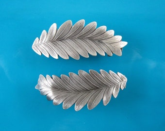Leaves French Barrette Set of Two 50mm- Hair Accessories- Hair Clips- Silver Barrettes- Small Barrettes