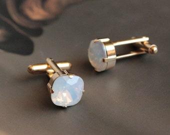 Swarovski Cushion Cut Cufflinks in White Opal