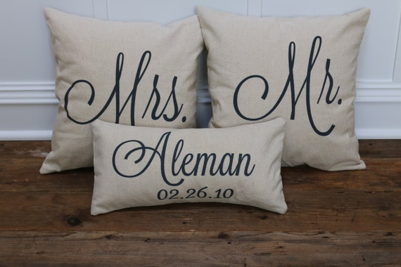 Mrs Mrs Wedding Gifts: Mr. & Mrs. Custom Pillow Covers With Name And By SoVintageChic