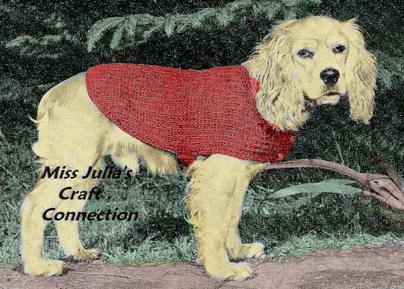 Vintage 1950s  Dog Sweater Coat Lined 346 PDF Digital Knit Pattern