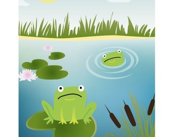 "8x12"" - Nursery Art, Kids Art, Kids Wall Art - Funny Frogs Print"