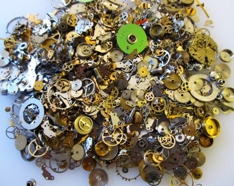 10 Grams STEAMPUNK Watch Wheel Gears, Old Watch Parts, Stems, Wheels, Hands, Movements,Tiny watch Parts, Steam punk Art, Jewelry  #No.8