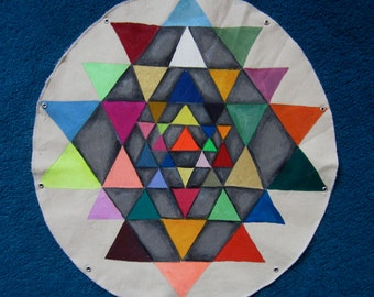 Rainbow warrior (Sri Yantra visual mantra of interconnectedness, 2 foot diameter acrylic paint on canvas)
