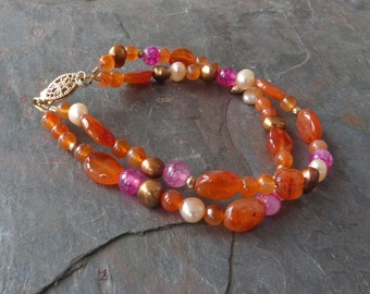 "Multicolor Gemstone Bracelet, Double Strand, Orange Carnelian, Fuchsia Agate, and Bronze & Peach Pearls with Gold, Handmade: ""Silk Road"""