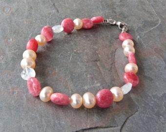 Rose Pink Rhodochrosite Gemstone Strand Bracelet with Moonstones & Pearls, Handmade