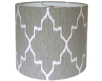 Custom Lamp Shade - Tribal Ikat Lampshade - Monaco by Lacefield Designs in Oatmeal - Taupe Grey Lamp Shades - Geometric Fabric Lampshades