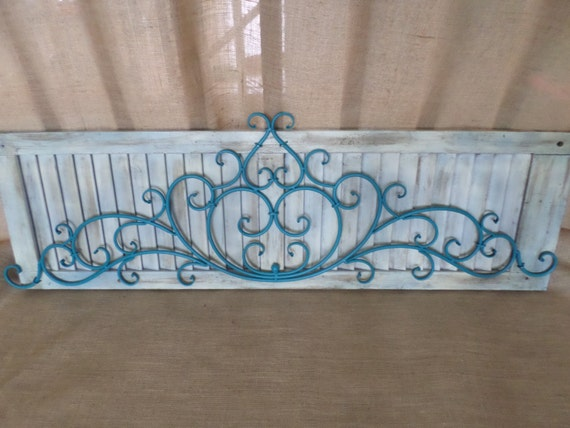 Shabby Chic Shutter Aqua Wrought Iron Metal By