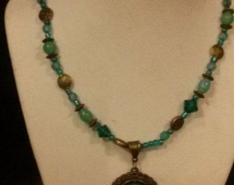 Teal and Bronze Pendant Necklace