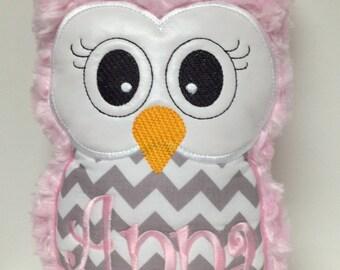 Light Pink Swirl Plush & Gray Chevron Plush Owl Reading Buddy Pillow, Soft Toy
