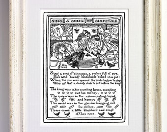 Sing A Song of Sixpence Nursery Rhyme Black and White Art Print Childrens Bedroom Decor Nursery Old Picture Storybook Book Page 557 b1