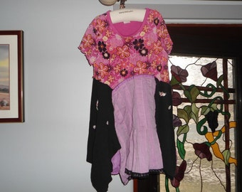 Little Girls Up Cycled Funky Tunic Dress size 10-12