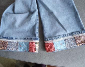 Jeans with Vintage Patchwork Rolled up Hem Border size 16