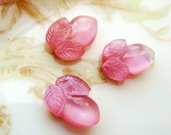 Vintage Pink Moonstone Glass Flower Bud Acorn Cabochons 10x8mm - 8