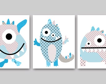 Monster Nursery Childrens Art Kids Wall Art Baby Boy Room Decor Baby Boy Nursery Kids Art Baby Nursery Prints Boy set of 3 Blue Gray