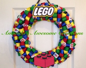 LEGO Themed Ribbon Wreath