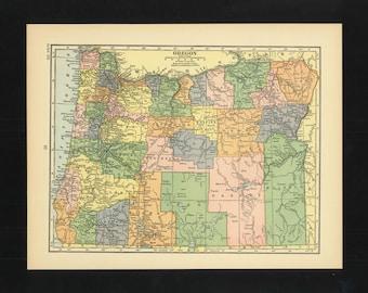 Vintage Map Oregon From 1926 Original