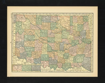 Vintage Map Oklahoma From 1926 Original