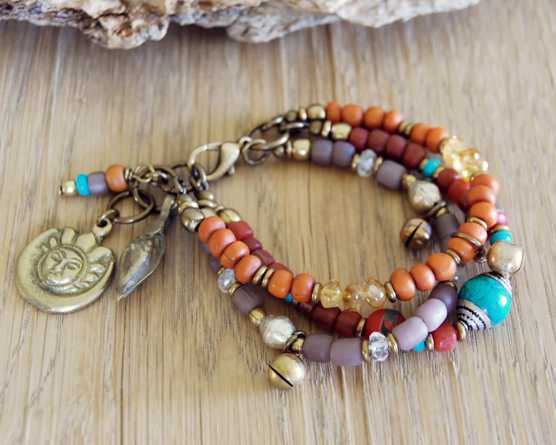 sun and moon bohemian bracelet boho jewelry by omsaha