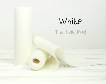 "Wool Felt Roll - 100% Wool Felt in Color WHITE - 5"" X 36"" Wool Felt Roll - White Wool Felt"