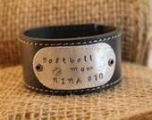 Softball Mom - Sports Mom Custom Hand Stamped Leather Cuff Bracelet