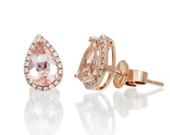 14 Karat Rose Gold 8x5mm Pear Cut Morganite Diamond Halo Solitaire Stud Earrings