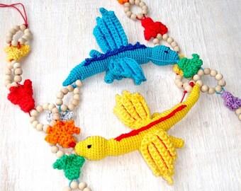 Dragon Nursing teething necklace MADE TO ORDER Yellow Blue  Oscha Kokadi wraps