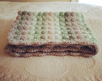 Double thick Greens and Grays Shell Crochet Baby Blanket,  lap size.