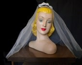 Vintage 50's WEDDING VEIL 1950's White Tulle Birdcage Netting Crystals Pearls Tiara Comb